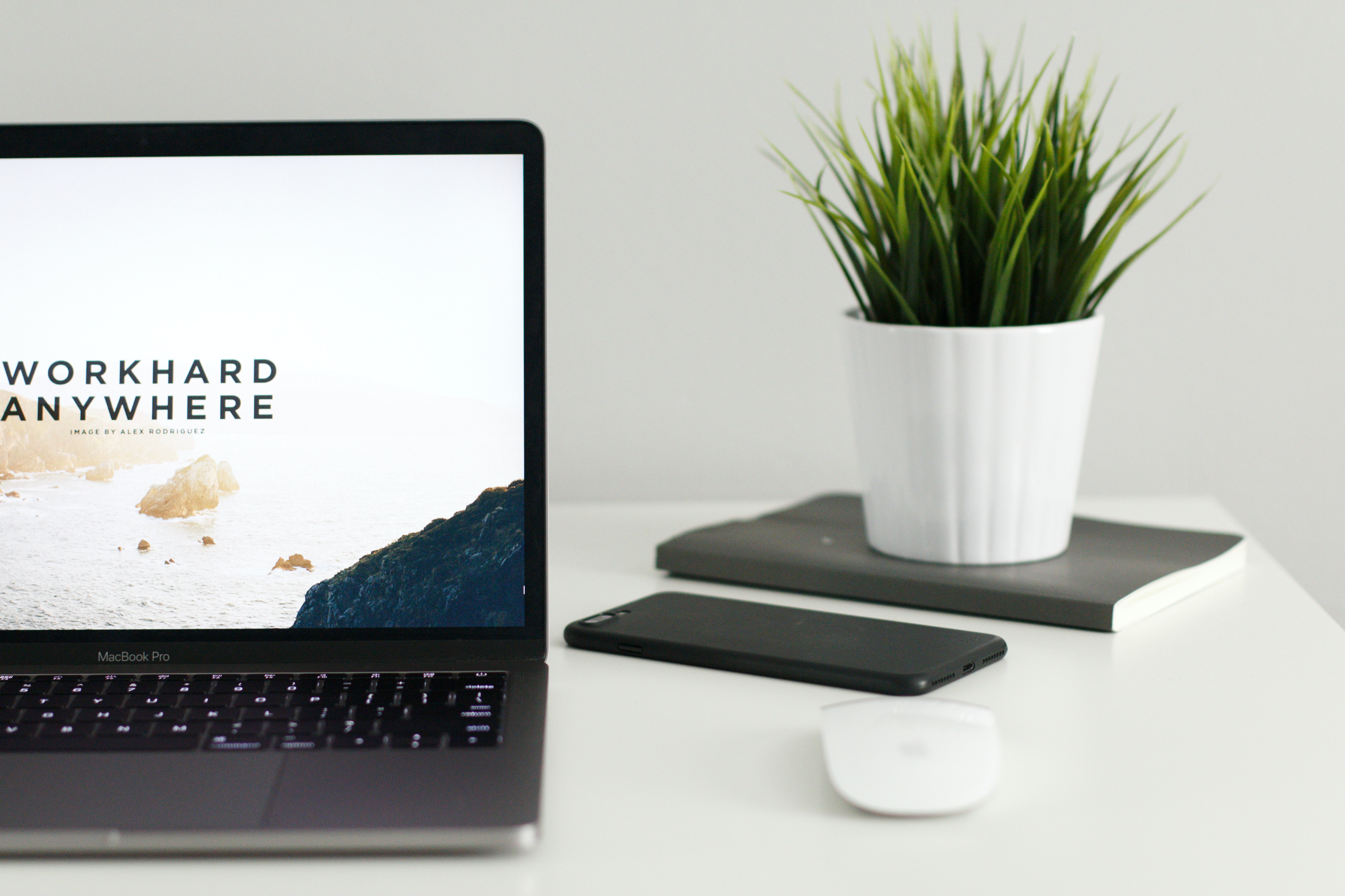 Work from anywhere laptop open productivity